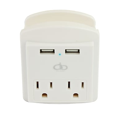 All Of The Best AOB Dual AC Outlet Wall Charger With Dual USB & LED Indicator (A07-115)