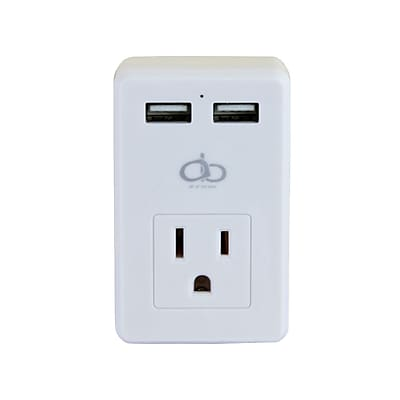 All Of The Best AOB Dual USB AC Outlet Wall Charger With LED Indicator, White (A07-112)