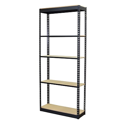 Storage Concepts Office Shelving, Low Profile Boltless, 5 Shelves with Particle Board, 96