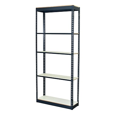 Storage Concepts Office Shelving, Low Profile Boltless, 5 Shelves with White Laminated Board, 72
