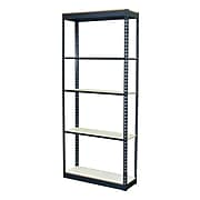 """Storage Concepts Office Shelving, Low Profile Boltless, 5 Shelves with White Laminate Board, 72""""H x 36""""W x 18""""D"""