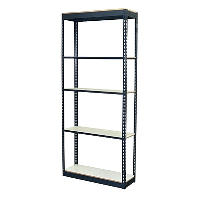 Storage Concepts Office Shelving, Low Profile Boltless, 5 Shelves with White Laminate Board, 84