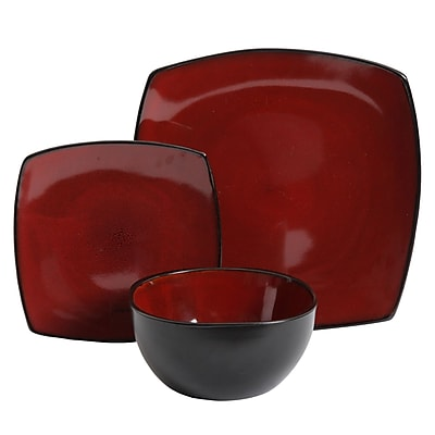 Gibson Soho Lounge 12-Piece Soft Square Dinnerware Set in Red (116851.12)