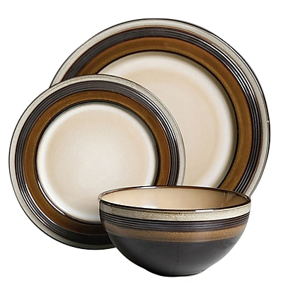 Gibson Everston 12 pc Dinnerware Set - Brown, Stoneware (116856.12)