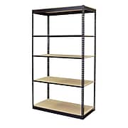 "Storage Concepts Office Shelving, Low Profile Boltless, 5 Shelves with Particle Board, 96""H x 48""W x 24""D"
