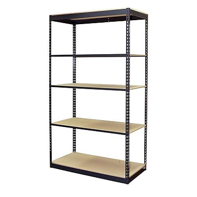 Storage Concepts Office Shelving, Low Profile Boltless, 5 Shelves with Particle Board, 84