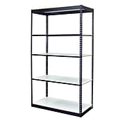 """Storage Concepts Office Shelving, Low Profile Boltless, 5 Shelves with White Laminated Board, 84""""H x 48""""W x 24""""D"""