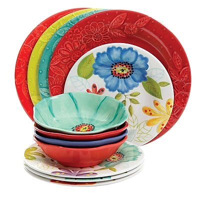 Gibson Flora 12 Pc Mix & Match Dinnerware Set Embossed Decorated (935100015M)