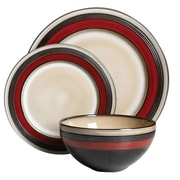 Gibson Everston 12 pc Dinnerware Set - Red - Metallic Reactive - Stoneware (93599920M)