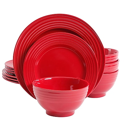 Gibson Plaza Cafe 12 pc Dinnerware Set Red Solid Color Stoneware (90710.12)