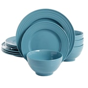 Gibson Plaza Cafe 12 pc Dinnerware Set Turquoise Solid Color Stoneware (90712.12)