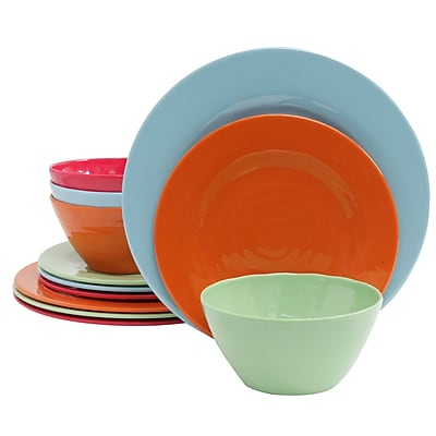 Gibson Brist 12 pc Dinnerware Set, 4 Assorted Colors (107279.12)