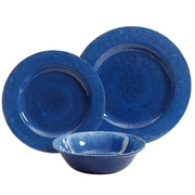 Studio California Gibson Studio California Mauna 12 Piece Dinnerware Set in Cobalt Blue Crackle Look Decal (935100473M)
