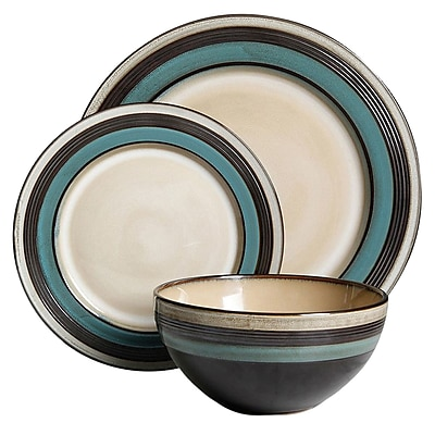 Gibson Everston 12 pc Dinnerware Set, Teal (116858.12)