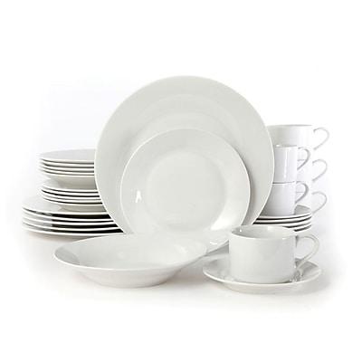 Gibson Rosendal 30 pc Dinnerware Set Service for 6 Round White Fine Ceramic (66032.30