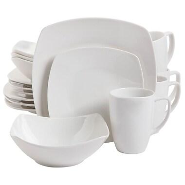 Gibson Zen Buffetware 16 pc Dinnerware Set Square White Fine Ceramic (92576.16)
