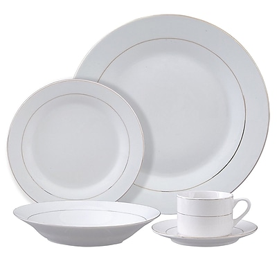 Gibson Tuxedo Deluxe 12 pc Dinnerware Set Double Gold Banded Decorated Fine Ceramic (91600.12)
