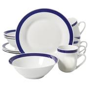 Gibson Nantucket Sail 12 pc Dinnerware Set Blue Banded Fine Ceramic (104495.12)