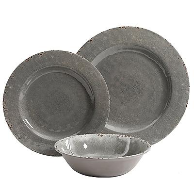 Studio California Gibson Studio California Mauna 12 piece Dinnerware Set in Grey Crackle Look Decal (114336.12)