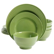 Gibson Plaza Cafe 12 pc Dinnerware Set Green Solid Color Stoneware (93599934M)