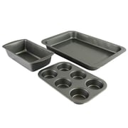 Sunbeam Kitchen Bake 3 Pack Bakeware Set, Charcoal Gray (108135.03)