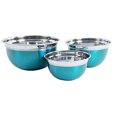 Oster Rosamond 3 Pack Round Mixing Bowl, Metallic Turquoise (109499.03)