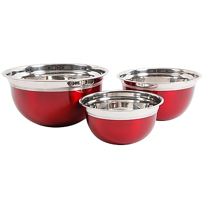 Oster Rosamond 3 Pack Round Mixing Bowl, Metallic Red (109498.03)