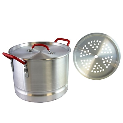 Oster Cocina Pamona 12 Qt Silver and Red Tamale Pot with Steamer Insert (935100881M)