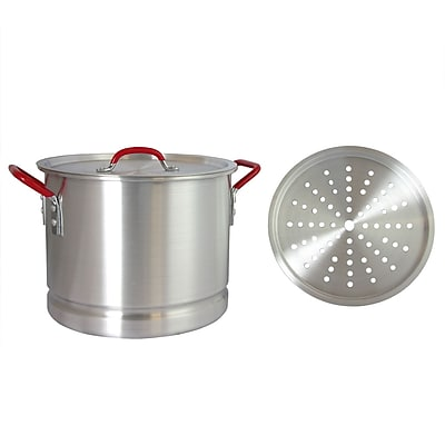Oster Cocina Pamona 20 Qt Silver and Red Tamale Pot Steamer Insert (935100879M)