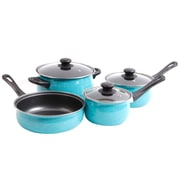 Gibson Home Casselman 7–Piece Turquoise Carbon Steel Cookware Set (935100973M)