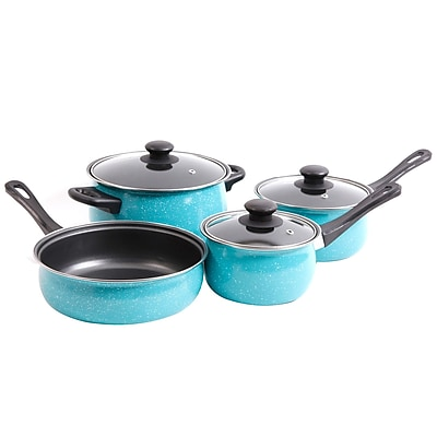 Gibson Home Casselman 7–Piece Turquoise Carbon Steel Cookware Set (935100973M)