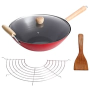 """Oster Cocina Gran Via 14"""" Red and Black Wok with Lid, Rack and Spatula (935100952M)"""