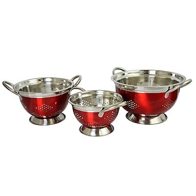 Oster Metaline 3 Pack Round Asian Colander, Metallic Red (109496.03)