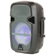 """Quantum Fx 8"""" Battery Powered Portable Party Speaker With Bluetooth/FM Radio/USB/TF and RGB Lights, Gray (93599730M)"""