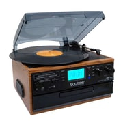 Boytone Bluetooth IN & OUT Classic Style Record Player Turntable with AM/FM Radio, Cassette Player (935101327M)