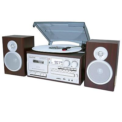 Boytone 28-Series Silver-Mahogany Classic Bluetooth Turntable System