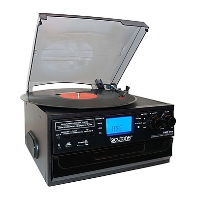 Boytone Bluetooth Classic IN & OUT Style Record Player Turntable with AM/FM Radio, Cassette Player, CD Player (935101331M)