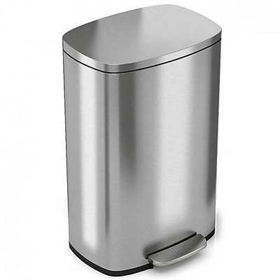 iTouchless SoftStep Stainless Steel Step Trash Can, 50 Liter / 13.2 Gallon, Kitchen Trash Can (PC13RSS)