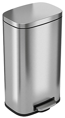 iTouchless SoftStep Stainless Steel Step Trash Can, 30 Liter / 8 Gallon, Kitchen Trash Can (PC30RSS)