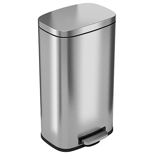 30 Gallon Kitchen Trash Can: ITouchless SoftStep Stainless Steel Step Trash Can, 30