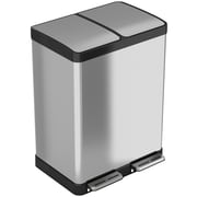 iTouchless SoftStep Stainless Steel Step Recycler Trash Can, 60 Liter / 16 Gallon, 2 8-Gallon Removable Inner Buckets (PC60RSS)