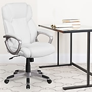 Flash Furniture Faux Leather Mid-Back Executive Office Chair, White (GO2236MWH)