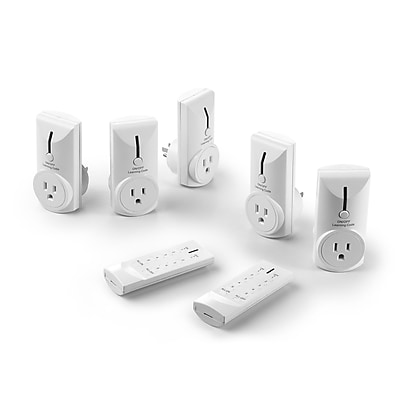 Link2Home Wireless Remote Control Electrical Outlet Switches Pack of 5 Outlets and 2 Remotes (EM-1001)