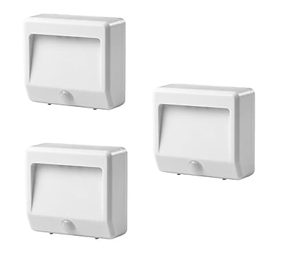 Link2Home LED Indoor/Outdoor, Safety and Security Motion - Sensing, Battery Powered Nightlights 3 pack, White, (EM-2003W)