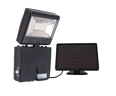 Link2Home LED Outdoor Solar Powered Motion Sensing Safety Security Floodlight with 480 Lumens, Black (EM-2714B)