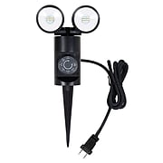 Link2Home LED Outdoor Garden Stake Double Light with Timer, Black (EM-2712B)
