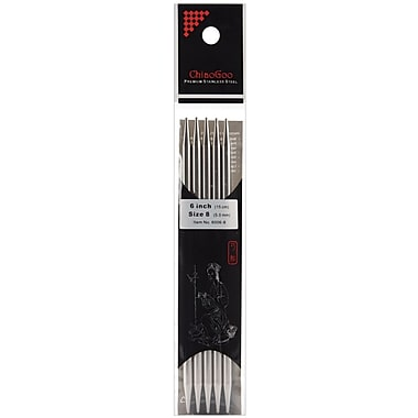 ChiaoGoo Size 8/5mm Double Point Stainless Steel Knitting Needles 6