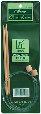 Clover Size 10/6mm Takumi Bamboo Flexible Knitting Needles 20