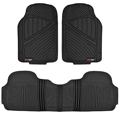 Motor Trend MT-773-BK Heavy Duty 3pcs Black Rubber Floor Mat