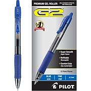 Pilot G2 Retractable Gel Pens, Fine Point, Blue Ink, Dozen (31021)